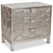 Jodie Hollywood Regency German Silver 3 Drawer Dresser