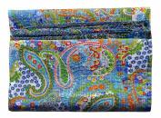 Handicrunch Bird Print King Size Kantha Quilt White, Kantha Blanket, Bed Cover, King Kantha Bedspread, Bohemian Bedding Kantha Size 230cm X 270cm By Handicrunch Home Decor