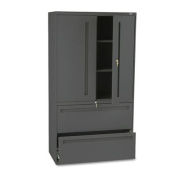 700 Series Lateral File w/Storage Cabinet, 36w x 19-1/4d, Charcoal, Sold as 1 Each