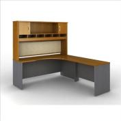 Bush Furniture Series C Natural Cherry L-Shaped Desk with Hutch Configuration