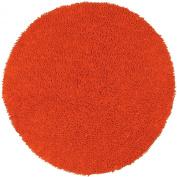 Orange 0.6m x 0.6m Shagadelic Chenille Twist Round Rug with. Shag