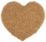 Tan 50cm x 60cm Shagadelic Chenille Twist Heart Rug with. Shag