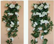 Get Orange®100CM artificial Rose Silk Flower Green Leaf Vine Garland Home Wall Party Decor Wedding Garden Decoration