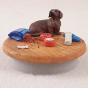 """Dachshund Red Candle Topper Tiny One """"A Day at Home"""""""