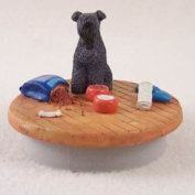 """Kerry Blue Terrier Candle Topper Tiny One """"A Day at Home"""""""