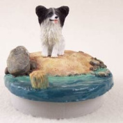 "Papillon Black & White Candle Topper Tiny One ""A Day on the Beach"""