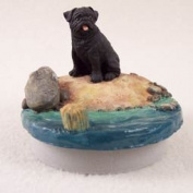"Pug Black Candle Topper Tiny One ""A Day on the Beach"""