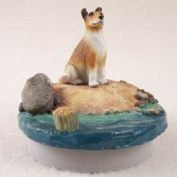 "Collie Smoth Hair Candle Topper Tiny One ""A Day on the Beach"""