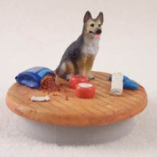 "German Shepherd Tan & Black Candle Topper Tiny One ""A Day at Home"""