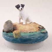 "Jack Russell Terrier Black & White w/Rough CoatCandle Topper Tiny One ""A Day on the Beach"""
