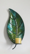 Metal Leaf Wall Mounted Candle Holder For Home & Office Décor In Light Green