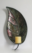Metal Leaf Wall Mounted Candle Holder For Home & Office Décor In Dark Green