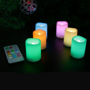 Candle Choice Set of 6 Colour Changing Flameless Votive Candles with Remote and Timer
