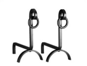 English Country Wrought Iron Andirons