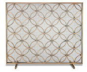 Pilgrim Home and Hearth 18311 Beford Single Panel Screen, Brushed Brass