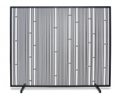 Pilgrim Home and Hearth 18319 Arden Single Panel Screen, Polished Stainless - Black