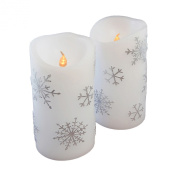 Flameless Flickering LED Candles with Silver Snowflake Design- 2 Count