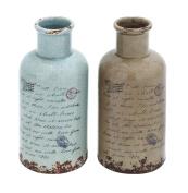 Plutus Brands Ceramic Vase in Soft Speckled Natural-Grey and Chestnut Colour