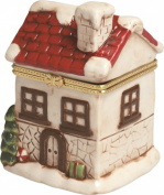 Winter Holiday Snow Covered Victorian House Hinged Trinket Box