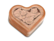 Hinged Box 7.6cm Heart - Sleeping Kittens