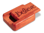 5.1cm Flat Narrow Padauk Secret Box - Believe