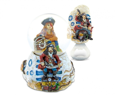 Puzzled Pirate Resin Stone Finish Collection including Snow Globe and Magnet Bottle Opener - Picture Size 5 by 3 - Unique Elegant Gift and Souvenir