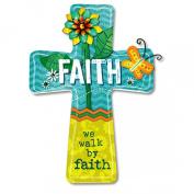 Walk by Faith Dahlia 25cm x 15cm Wooden Wall Cross Art Plaque