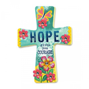 Hope Gives You Courage 25cm x 15cm Wooden Wall Cross Art Plaque