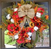 Flora Décor Autumn Cotton Wreath with Burlap Bow - 60cm