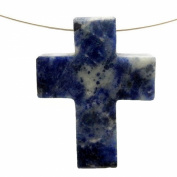 1 (ONE) Sodalite Cross Pendant Charm - Top Side to Side Drilled Bead with Rock Paradise Exclusive Certificate of Authenticity