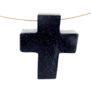 1 (ONE) Purple Goldstone Cross Pendant Charm - Top Side to Side Drilled Bead with Rock Paradise Exclusive Certificate of Authenticity