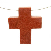1 (ONE) Goldstone Cross Pendant Charm - Top Side to Side Drilled Bead with Rock Paradise Exclusive Certificate of Authenticity