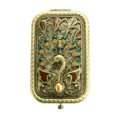 Ivenf Antique Vintage Square Compact Purse Mirror, Peacock Spreading Tail, Bronze