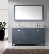 Virtu USA GD-50060-WMSQ-GR-002 Caroline Avenue 150cm Double Bathroom Vanity Cabinet Set in Grey
