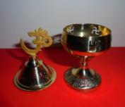 Art collectibles India Vintage Brass Diya Deepa Chirag for Hindu puja Temple Prayer HoemDecor lighting