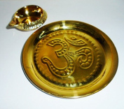 Artcollectibles India Set Of Brass Plate AND Brass Kuber Oil Lamp Diya for Hindu Puja Religious Diwali Navratra Puja