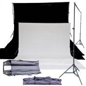 BlueDot Trading backgrnd-stnd-1ea-black-wht Photo Studio Background Support Stand System Kit