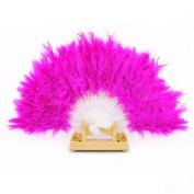 Lookatool® Nice Feather Fan For Dance Props Hand Goose Feather Folding Fan Wedding