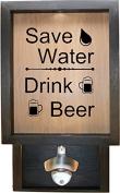 Wooden Shadow Box Bottle Cap Holder 23cm x 38cm with Bottle Opener - Save Water Drink Beer