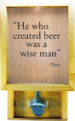Wooden Shadow Box Bottle Cap Holder 23cm x 38cm with Bottle Opener - He Who Created Beer Was A Wise Man