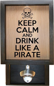 Wooden Shadow Box Bottle Cap Holder 23cm x 38cm with Bottle Opener - Keep Calm And Drink Like a Pirate