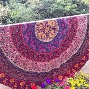 Indian Round Mandala Tapestry Hippie Indian Beach Throw Towel Roundie Yoga Mat 180cm .