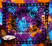 Psychedelic Celestial Sun Moon Stars Tie Dye Tapestry, Gypsy Wall Hanging, Queen Dorm Bedding, Table Cloth Decor Art, 220cm x 240cm .