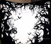 Black & White Halloween Pumpkin Scary Wall Hanging, Mandala Tapestries, Hippie Tapestry,Cotton Bedding Bedspread,Indian Tapestry Decor,220cm x 240cm .