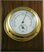 Fischer Instruments 1508TH-45-1D 13cm Polished Brass MarineThermo-Hygrometer with Wallnut Plaque