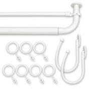 Source Global Barricade Double Window Rod Set, 190cm - 240cm , White