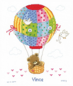 Vervaco 14 CountHot Air Balloon Birth Record on Aida Counted Cross Stitch Kit, 25cm by 29cm