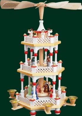 White German Nativity 2 Tier Christmas Pyramid