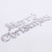 red cherry 25cm merry christmas sign christmas tree, door, showcase decoration ornaments-silver