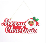 red cherry hanging merry christmas santa claus sign for decorations